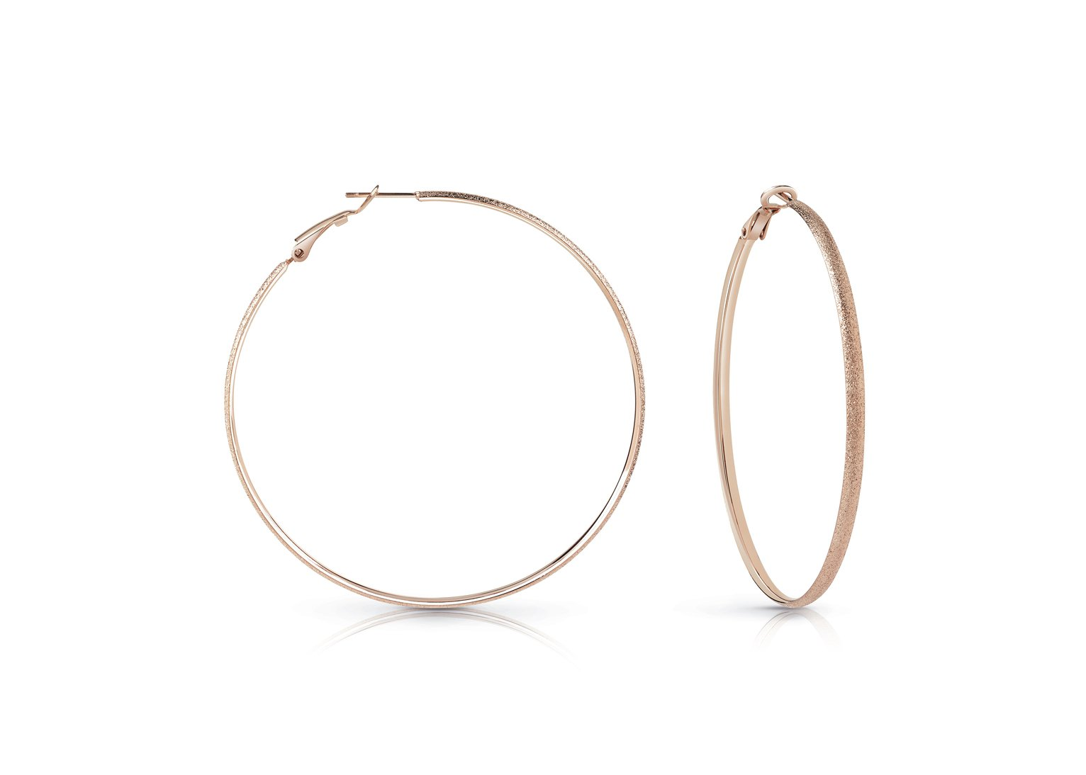 Guess All Around Guess Rose Gold Large Hoop Earrings