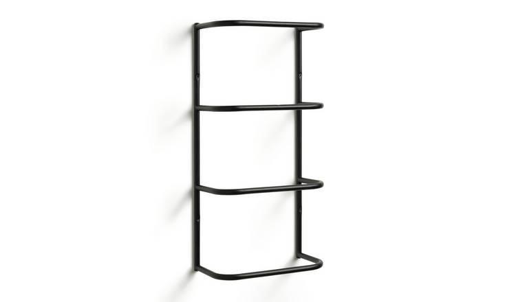 Habitat Wall Mountable Towel Holder - Matt Black