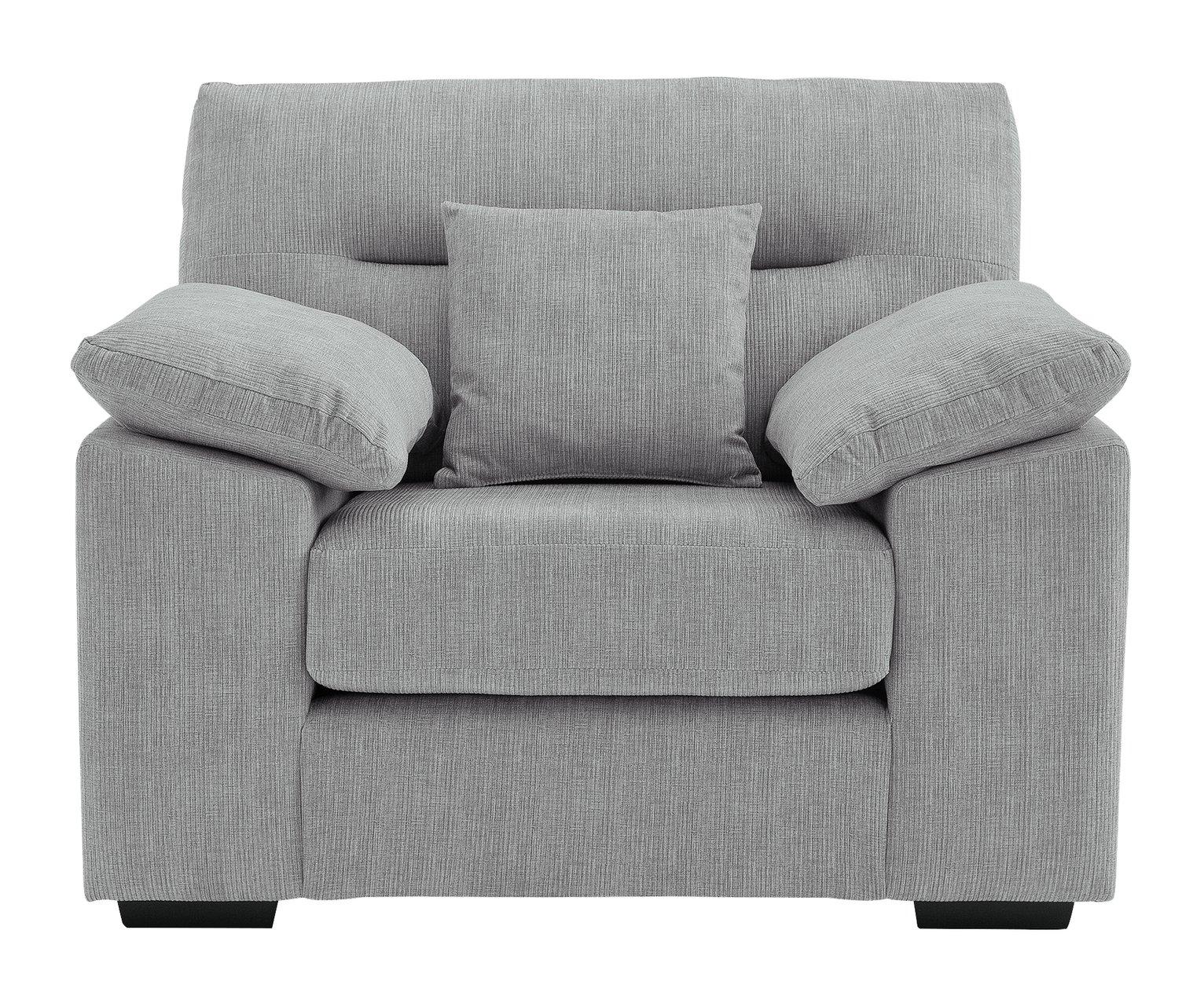 Argos Home Donavan Fabric Armchair - Silver