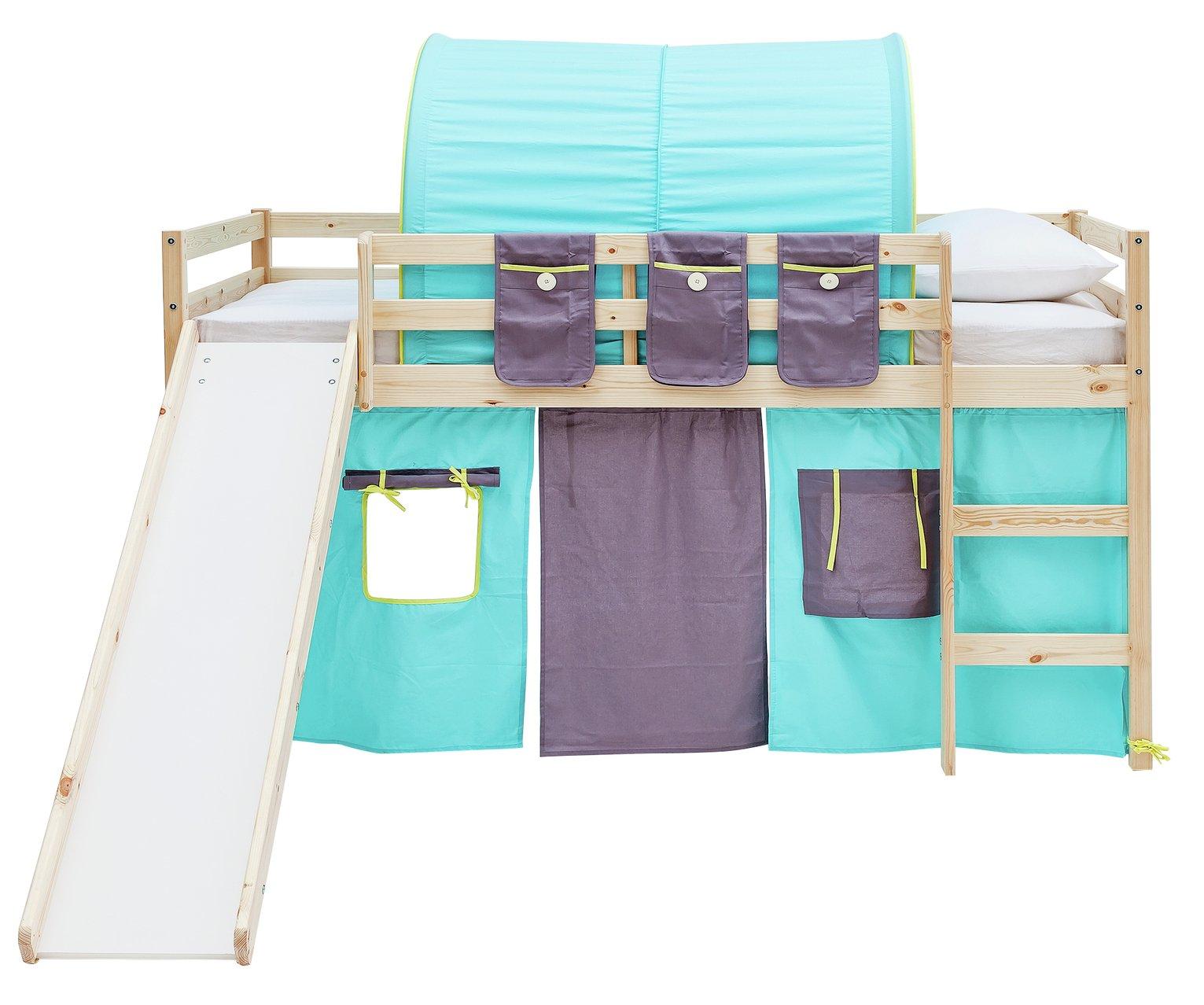 Argos Home Kaycie Pine Midsleeper ,Slide,Turq Tent& Mattress