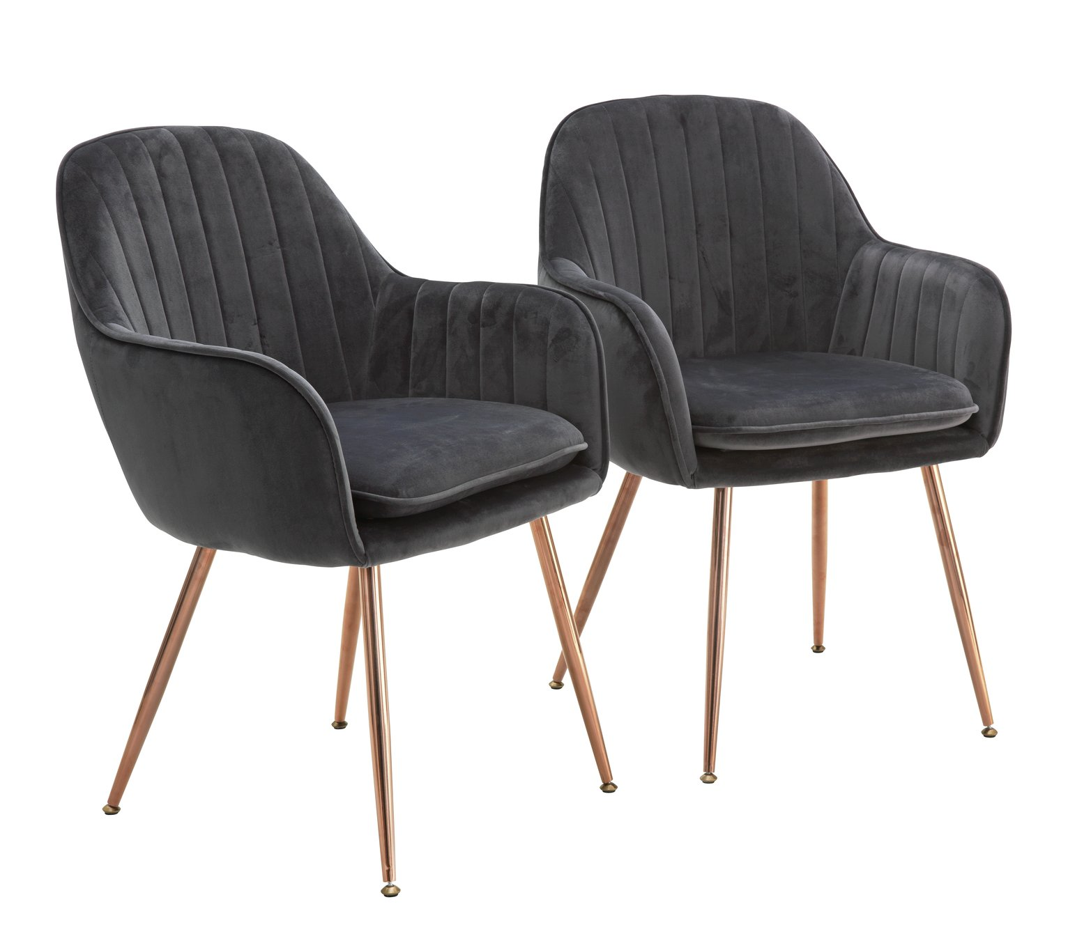 Argos Home Bella Pair of Velvet Dining Chairs - Charcoal