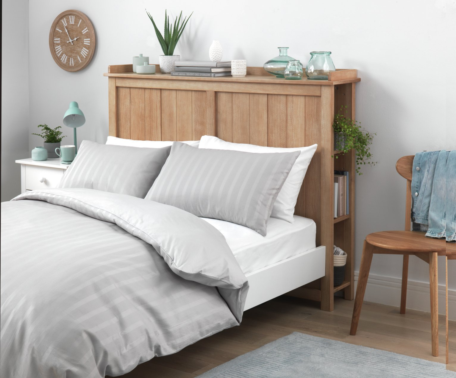 Argos Home Crusoe Double Storage Headboard - Pine