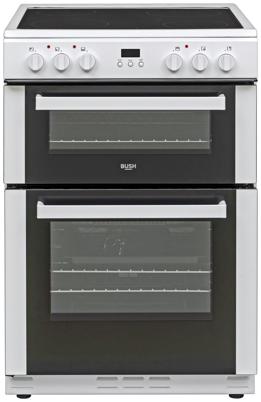 Bush BDBL60ELWX 60cm Double Oven Electric Cooker - White