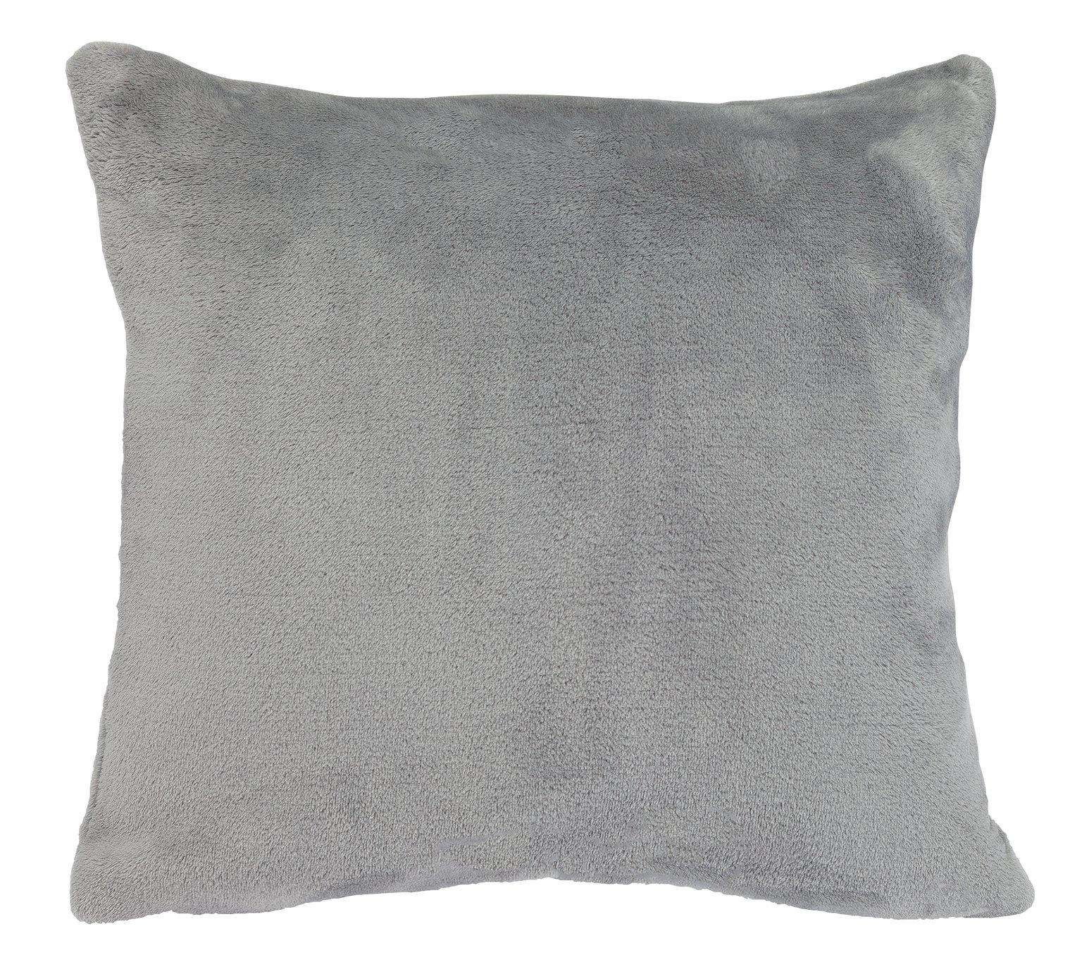 Argos Home Supersoft Fleece Cushion - Flint Grey