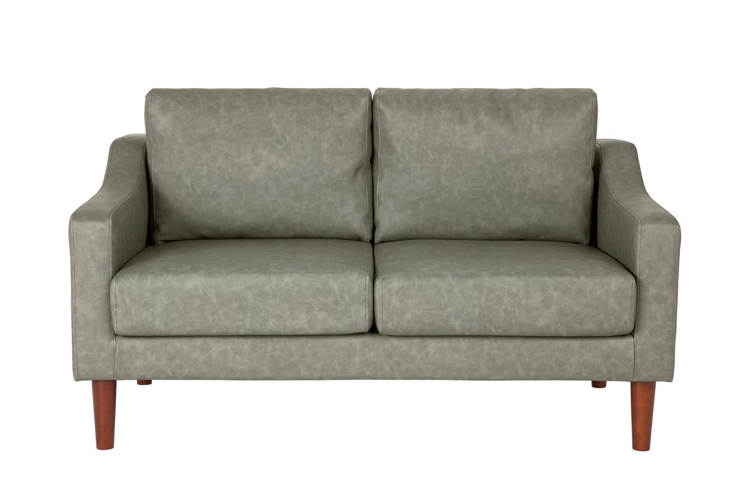 Argos Home Brixton 2 Seater Faux Leather Sofa - Soft Grey
