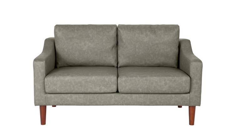 Argos Home Brixton 2 Seater Faux Leather Sofa - Soft Grey