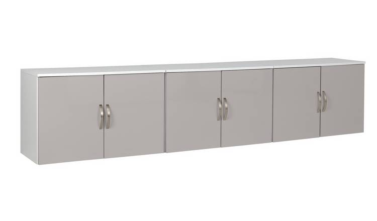 Argos Home Cheval Gloss Overbed Cupboards - Grey