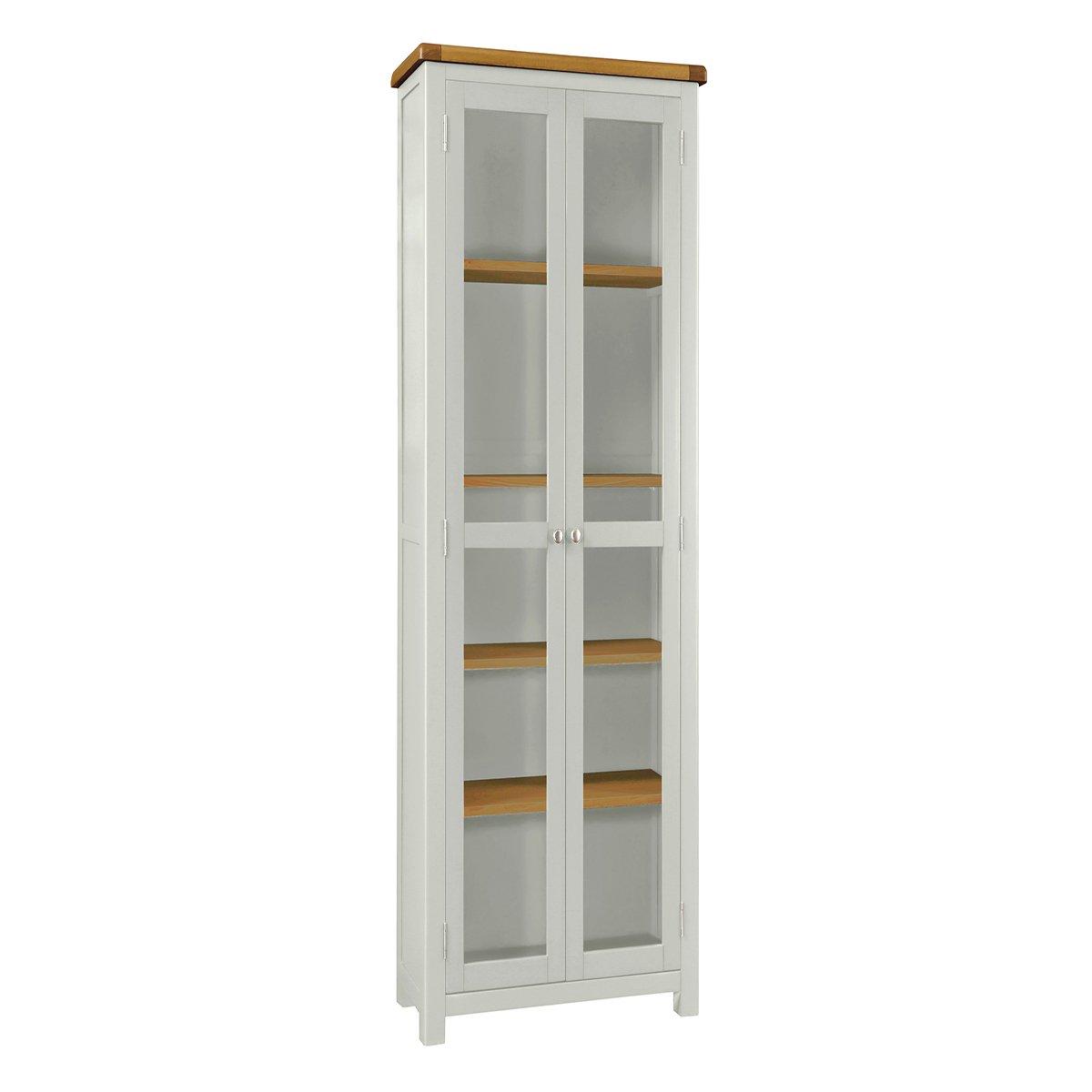 Habitat Kent 2 Door Glass Display Cabinet - Oak and Cream
