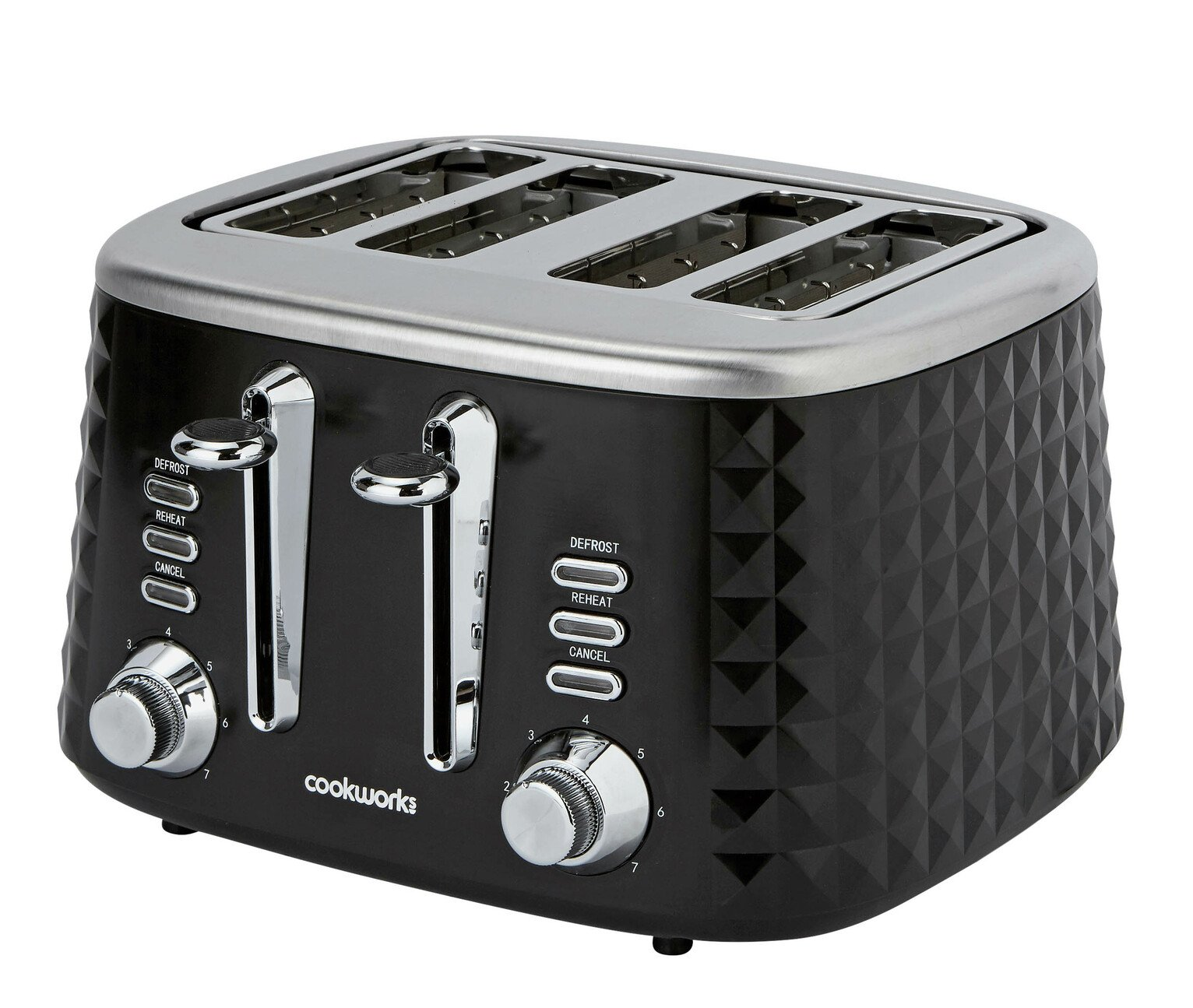 Cookworks Textured 4 Slice Toaster - Black