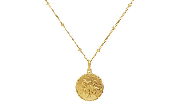 Revere 9ct Gold PLated Bee Coin Pendant