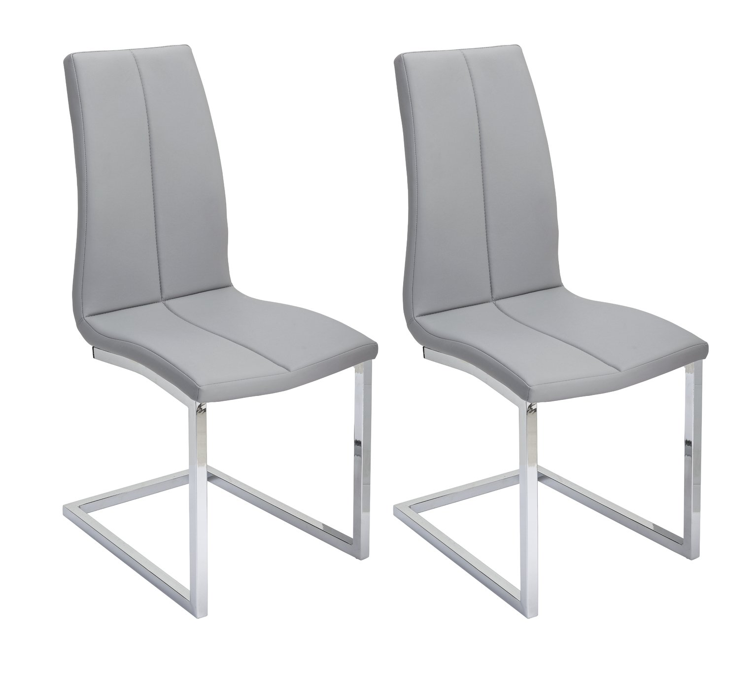 Argos Home Milo Pair of Faux Leather Dining Chairs - Grey