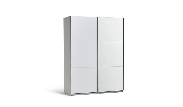 Habitat Holsted Medium White & Mirrored Wardrobe