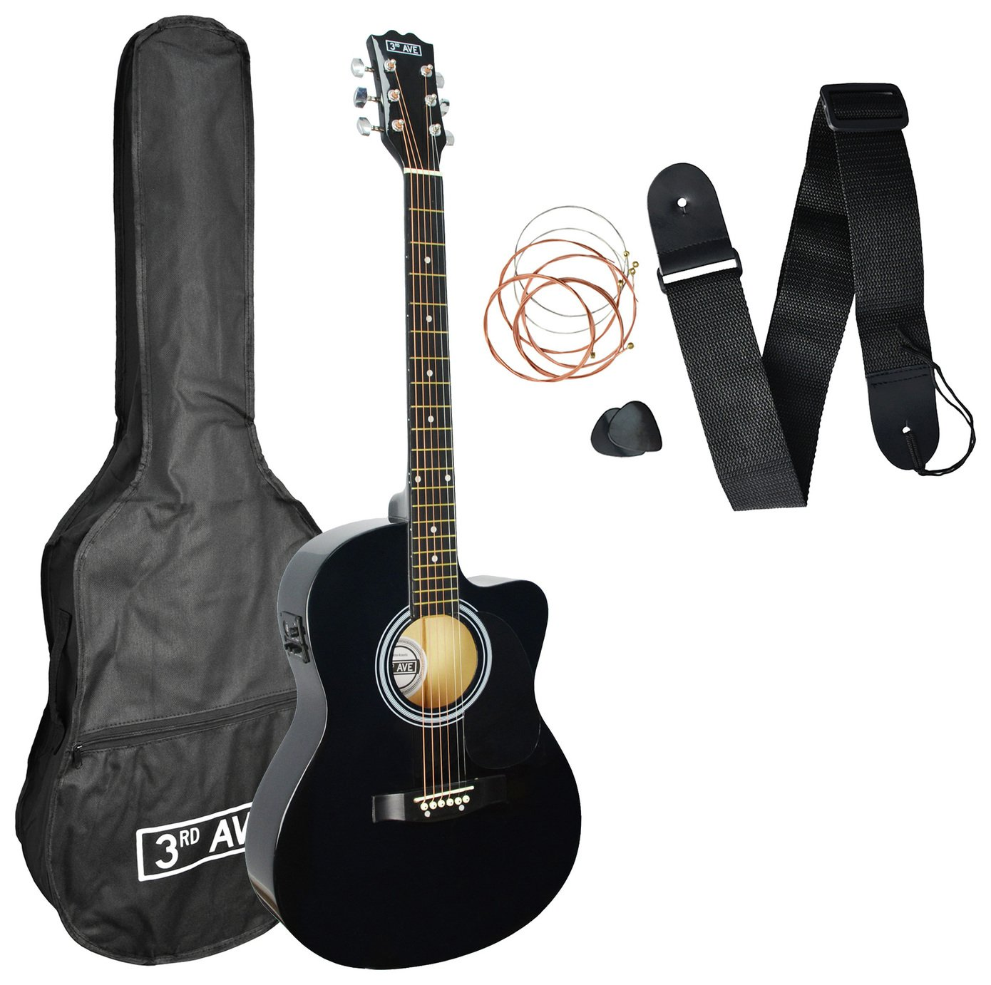 3rd Avenue Full Size Electro Acoustic Guitar and Accessories