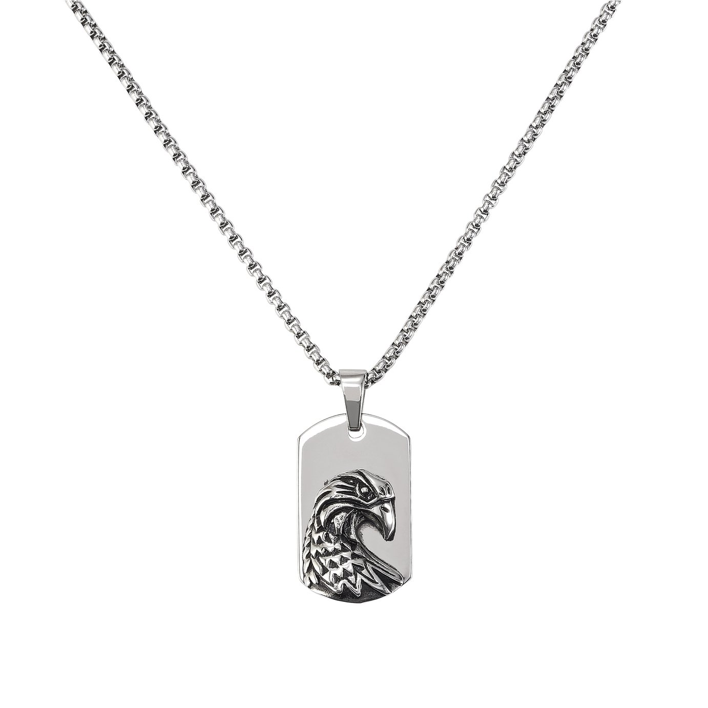 Revere Stainless Steel with Eagle Dog Tag Necklace