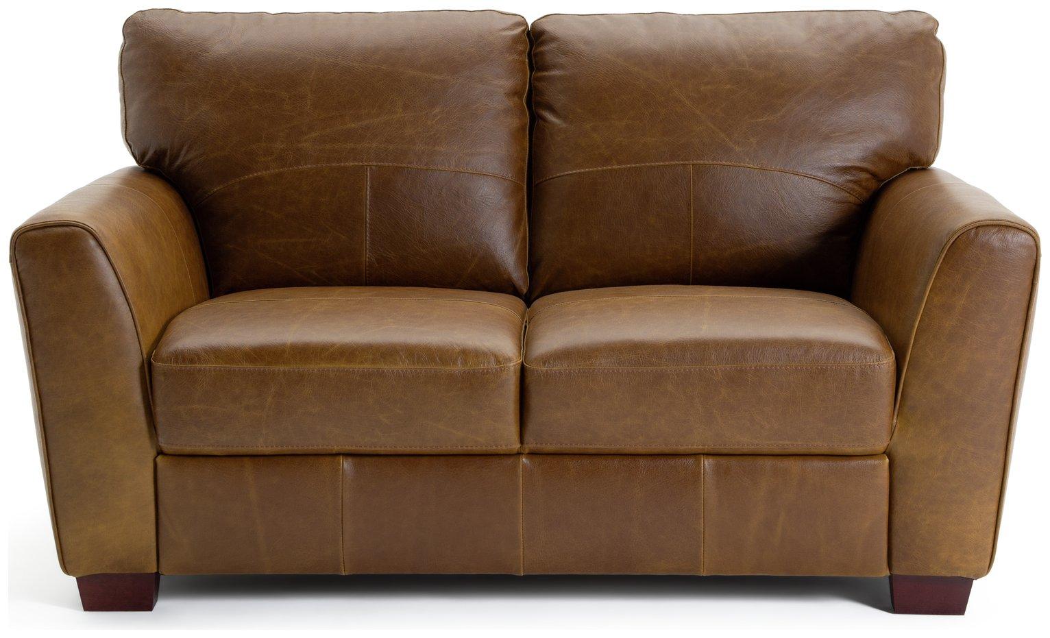 Habitat Milford 2 Seater Leather Sofa - Tan