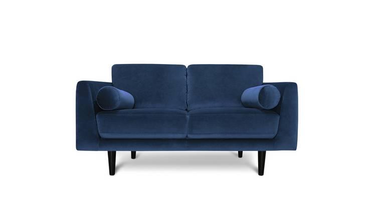 Argos Home Jackson 2 Seater Velvet Sofa   Blue by Argos
