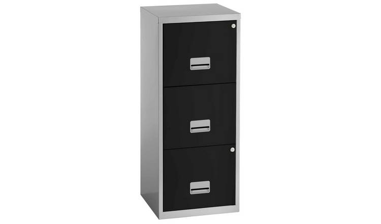 Pierre Henry 3 Drawer Maxi Filing Cabinet - Silver & Black