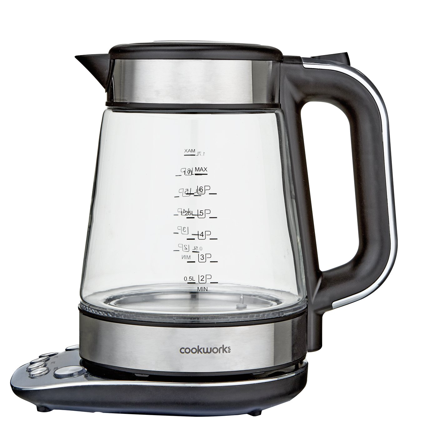 Cookworks Variable Temperature Glass Kettle - S/Steel