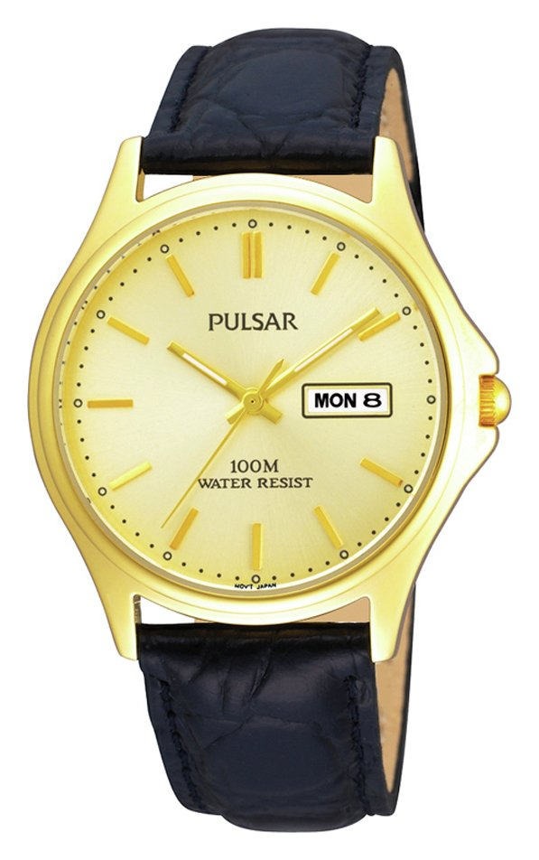 Pulsar Gold Dial Black Strap Watch