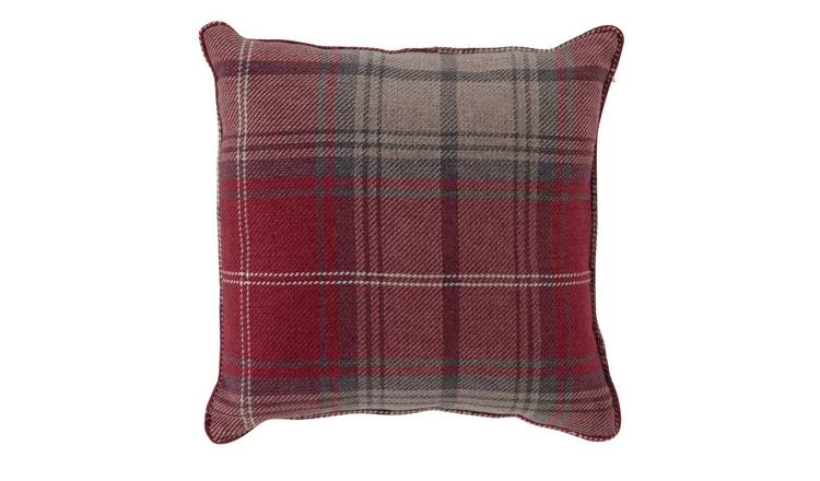 Argos Home Traditional Brushed Check Cushion - Red