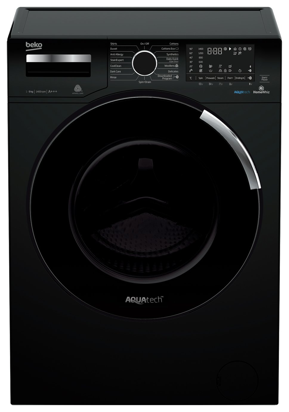 Beko Aqua WY940P44EB 9KG 1400 Spin Washing Machine - Black