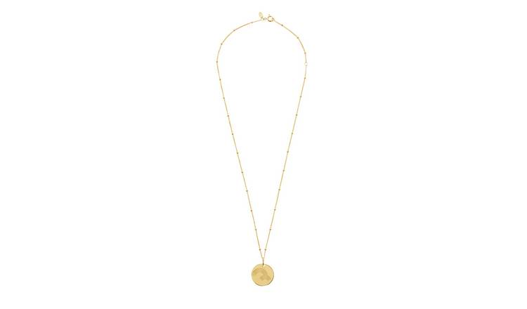 Moon & Back Gold Plated Silver Rainbow Disc Pendant Necklace