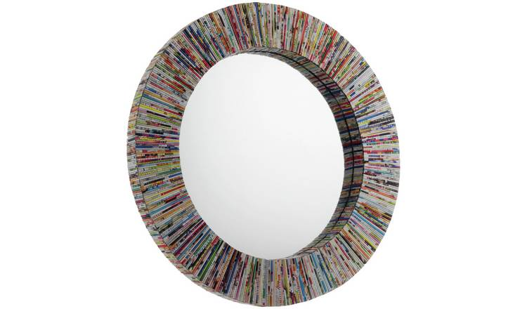 Habitat Cohen Multicoloured Recycled Paper Round Wall Mirror