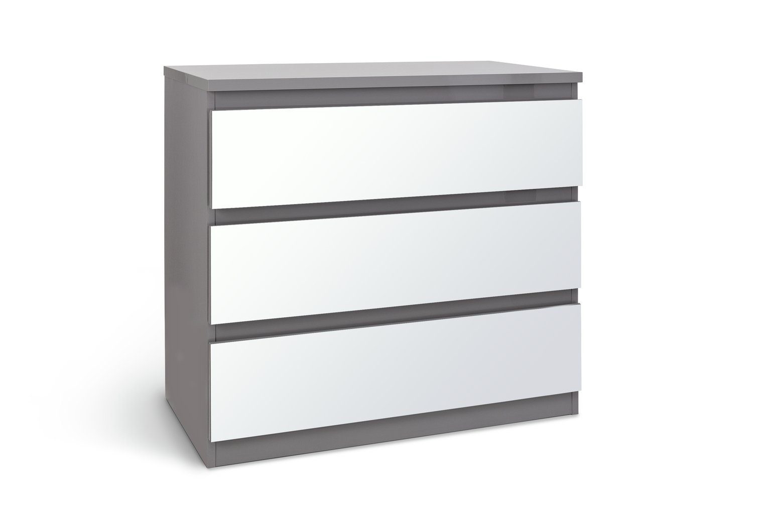 Argos Home Jenson Gloss 3 Drw Mirror Chest of Drawers - Grey