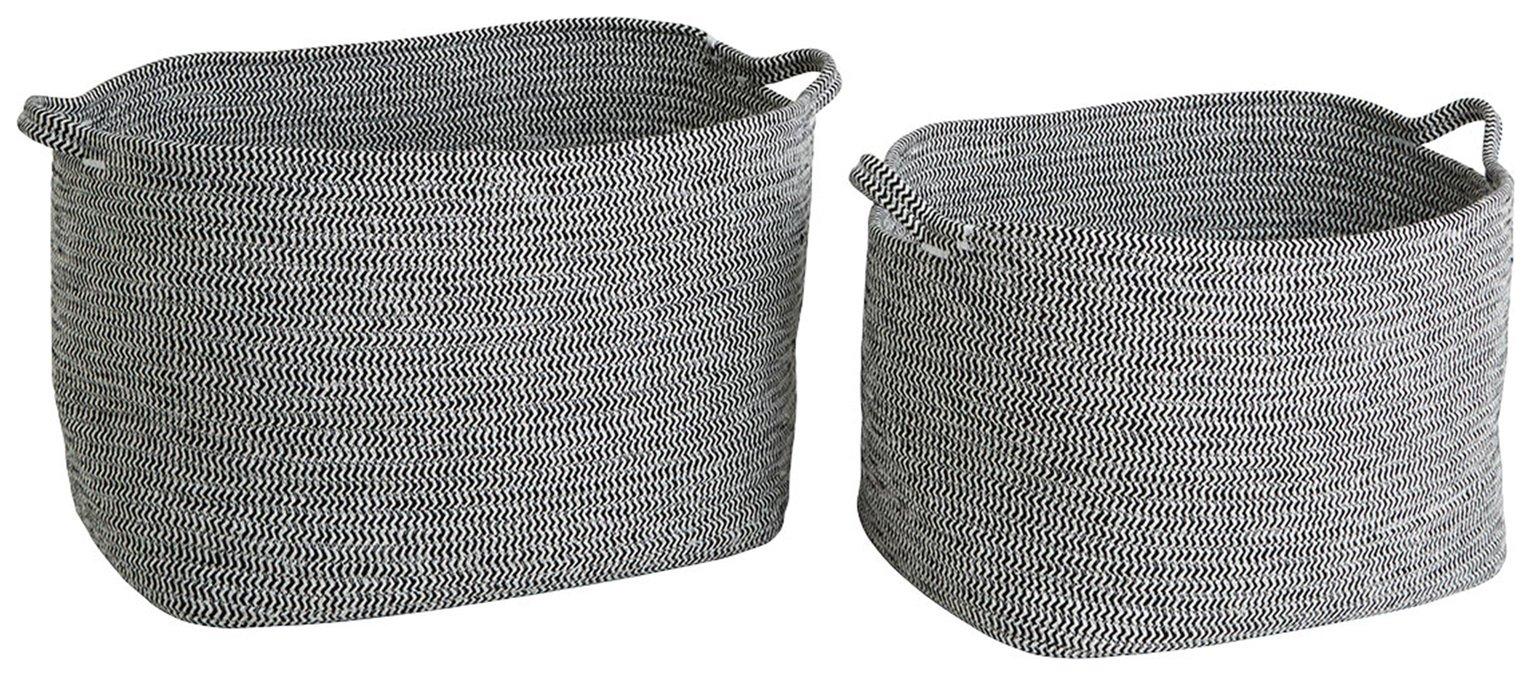Habitat Salvador 2 Storage Baskets - Black & White
