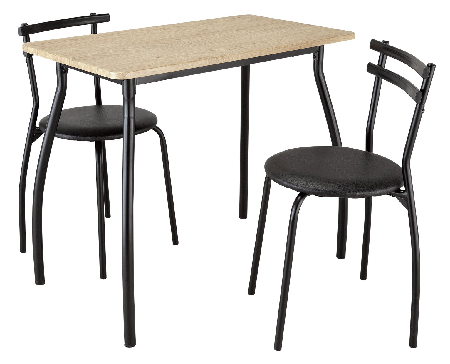 Argos Home Leon Oak Effect Dining Table & 2 Black Chairs