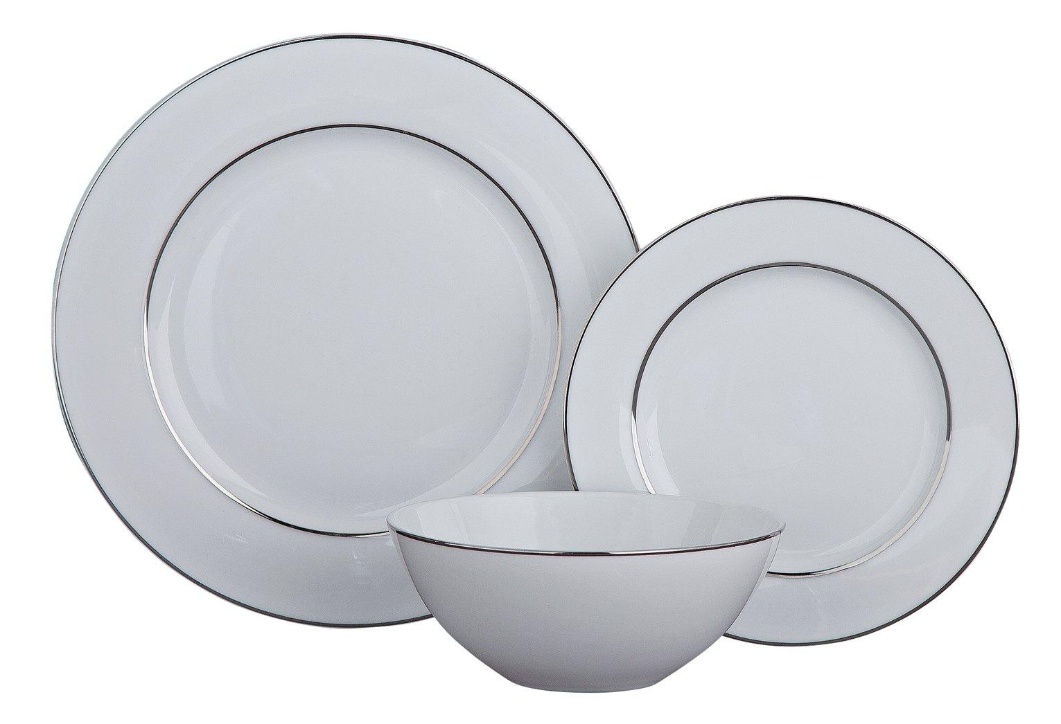 Argos Home Luxe 12 Piece Dinner Set - Platinum