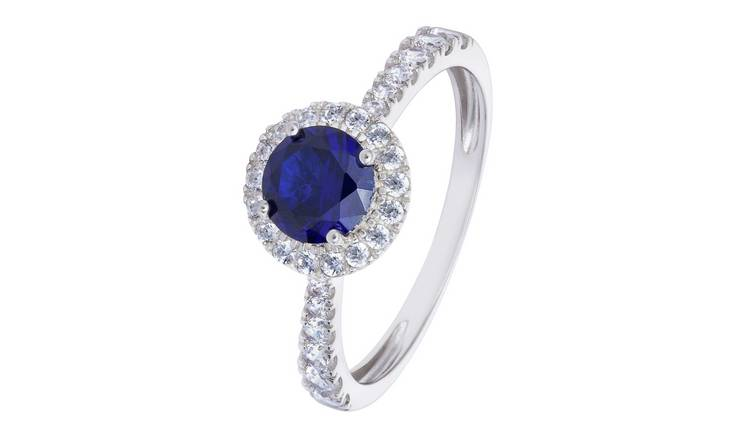 Revere 9ct White Gold Sapphire Colour Cubic Zirconia Ring -U