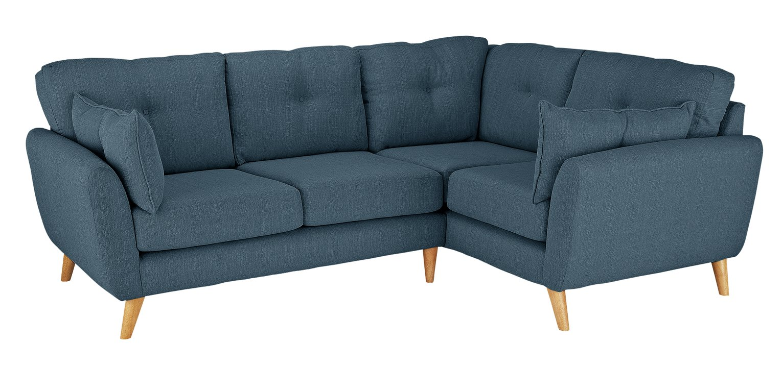 Argos Home Kari Right Corner Fabric Sofa - Blue