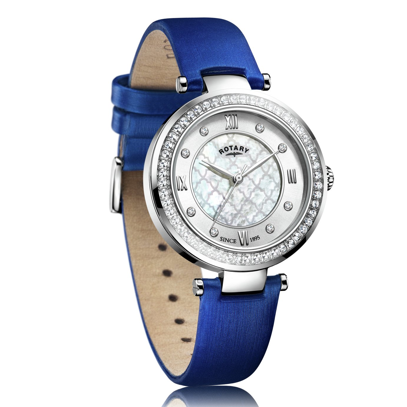 Rotary Ladies Royal Blue Satin Strap Watch