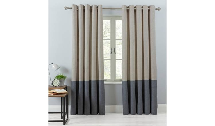 Argos Home Printed Border Lined Eyelet Curtains - Natural