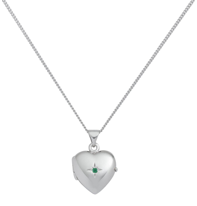 Revere Sterling Silver Birthstone Pendant Necklace - Emerald
