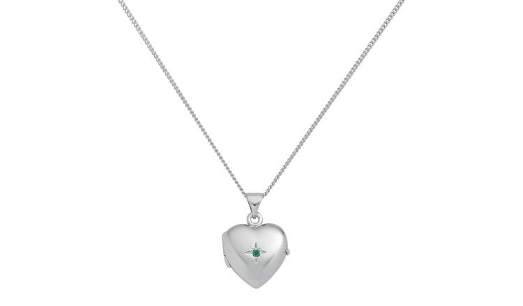 Revere Sterling Silver Birthstone Pendant Necklace - Emerald
