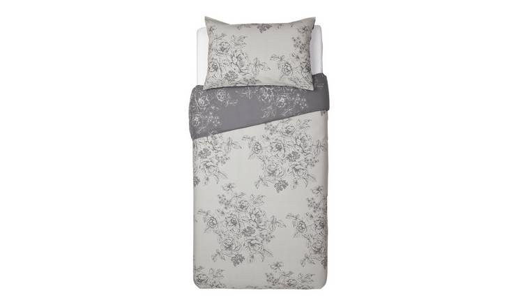 Argos Home Grey Classic Floral Bedding Set - Single