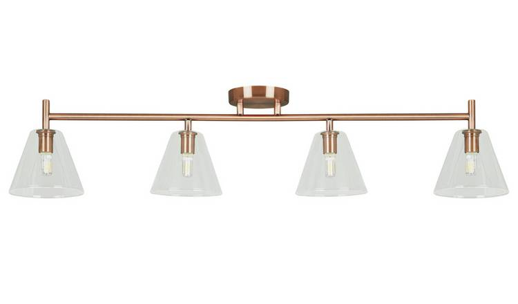 Habitat Hallam 4 Light Flush Glass Ceiling Light - Copper