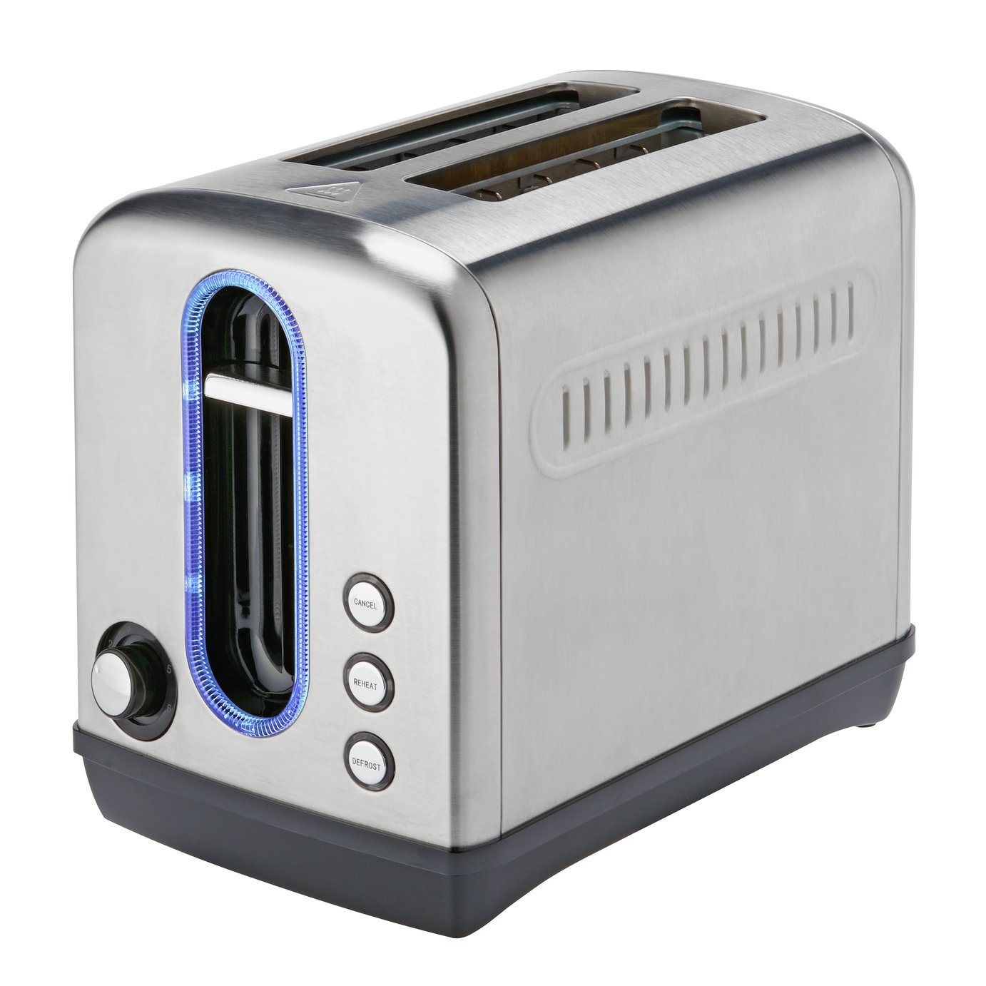 Cookworks Illuminated 2 Slice Toaster - Brushed S/Steel