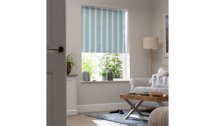Habitat Stripe Blackout Roller Blind - 4ft - Duck Egg
