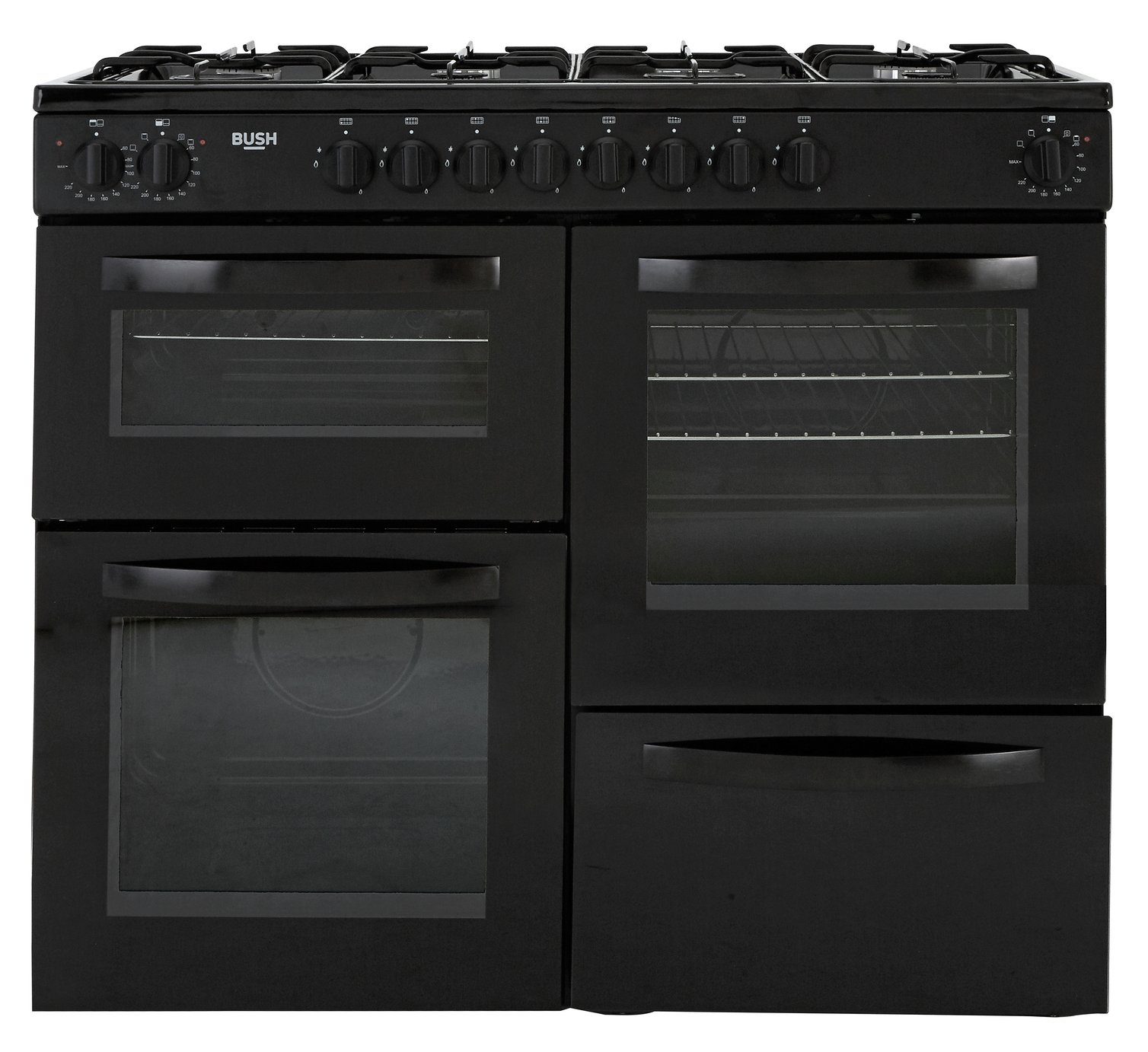 Bush BRC100DHEB 100cm Dual Fuel Range Cooker - Black