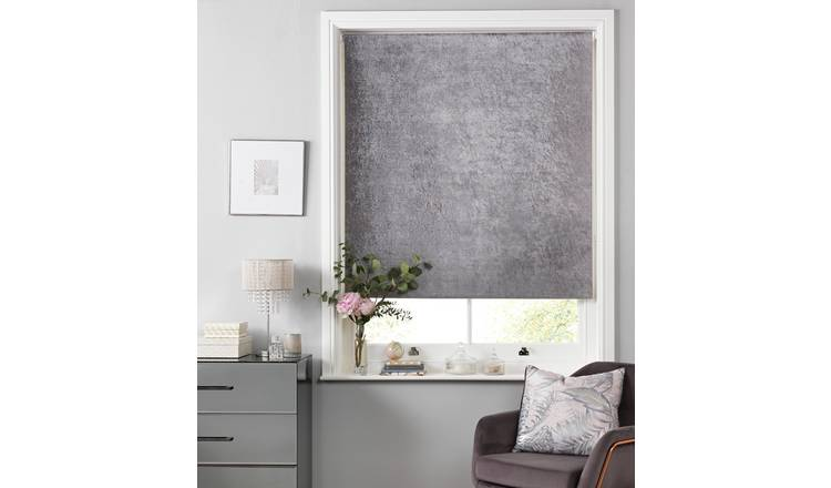 Casa Crushed Velvet Blackout Roller Blind - 3ft - Grey