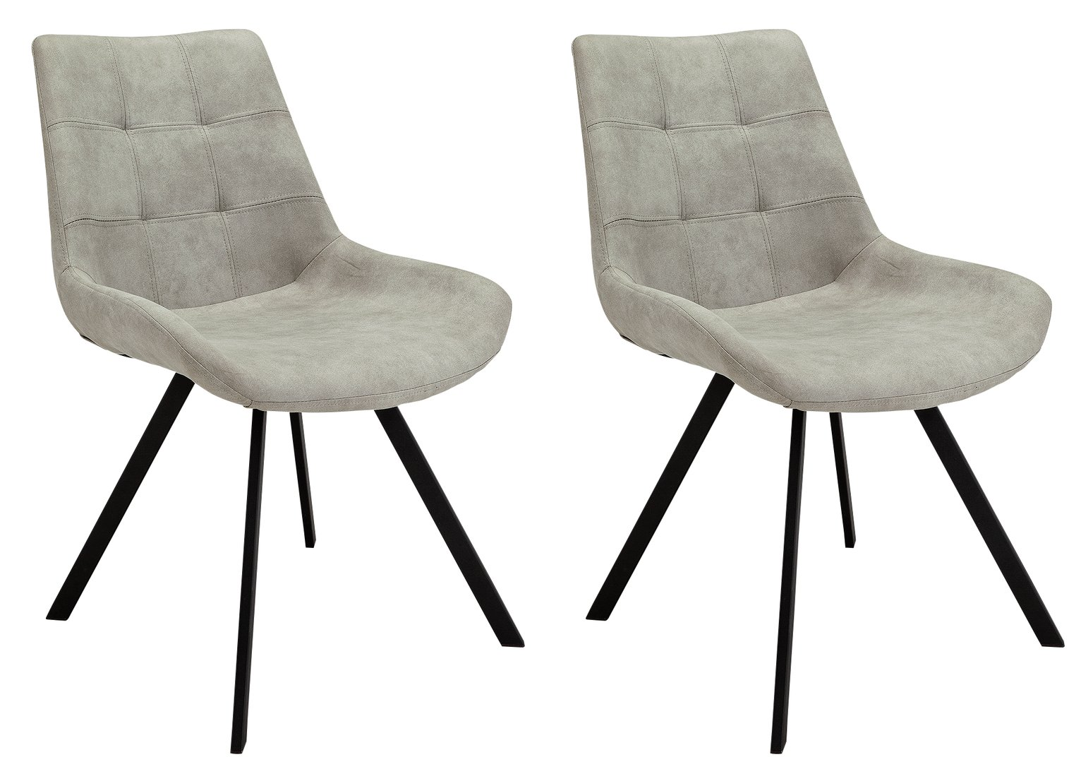 Argos Home Tribeca Pair of Microfibre Dining Chairs - Grey