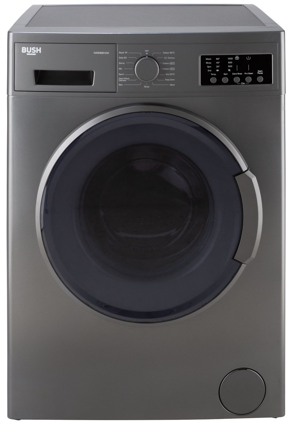 Bush WMNB812IX 8KG 1200 Spin Washing Machine - Inox