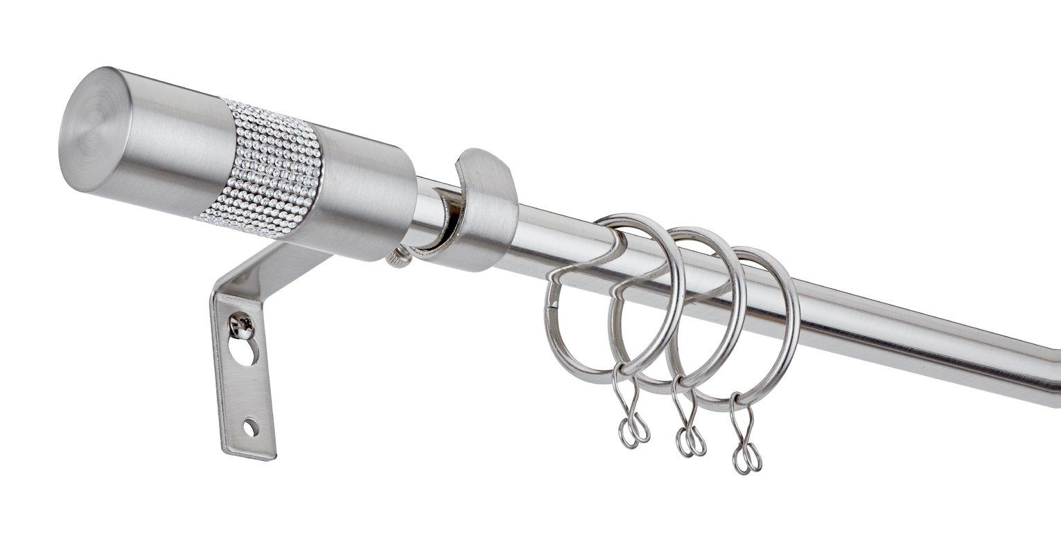 Argos Home Extendable Diamante Curtain Pole -Stainless Steel