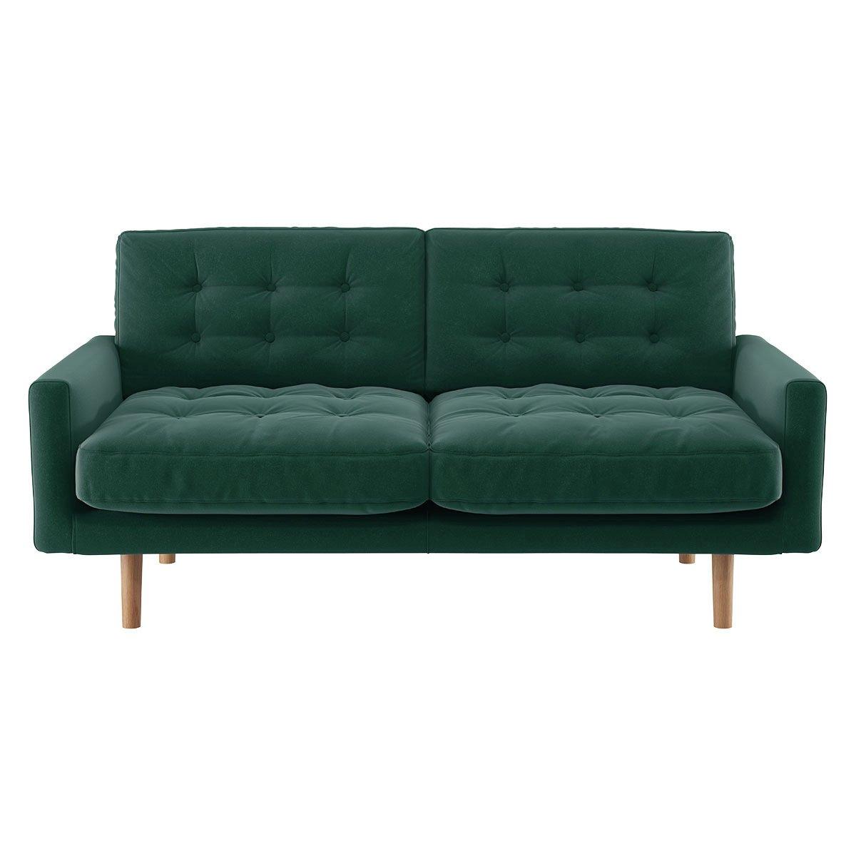 Habitat Fenner 2 Seater Velvet Sofa - Emerald Green