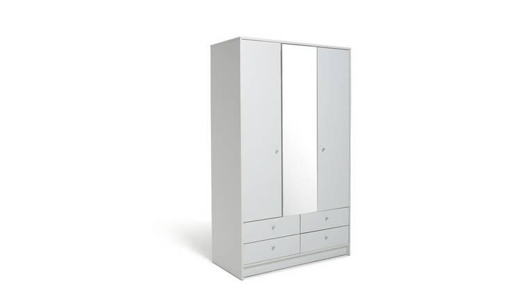 Argos Home Malibu 3 Door 4 Drawer Mirrored Wardrobe   White by Argos