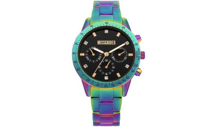 Missguided Iridescent Multicoloured Bracelet Watch