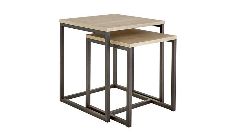 Argos Home Nomad Nest of 2 Tables - Light Oak Effect